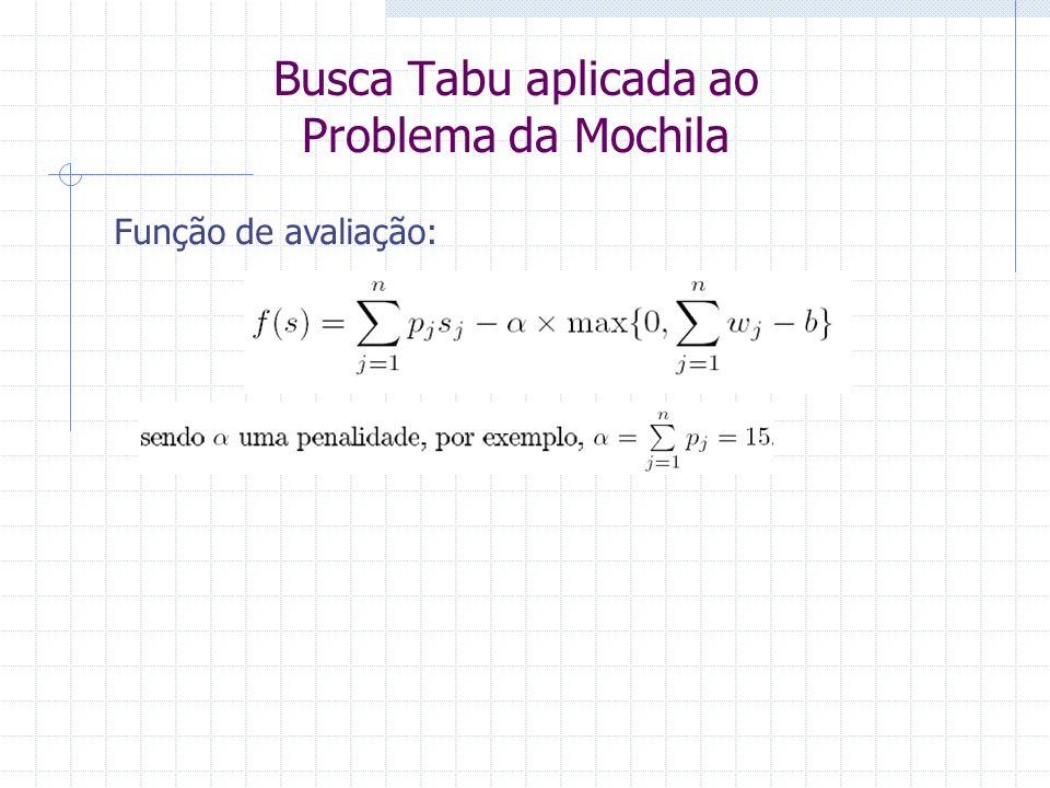 Busca Tabu aplicada ao Problema da Mochila Função de avaliação: