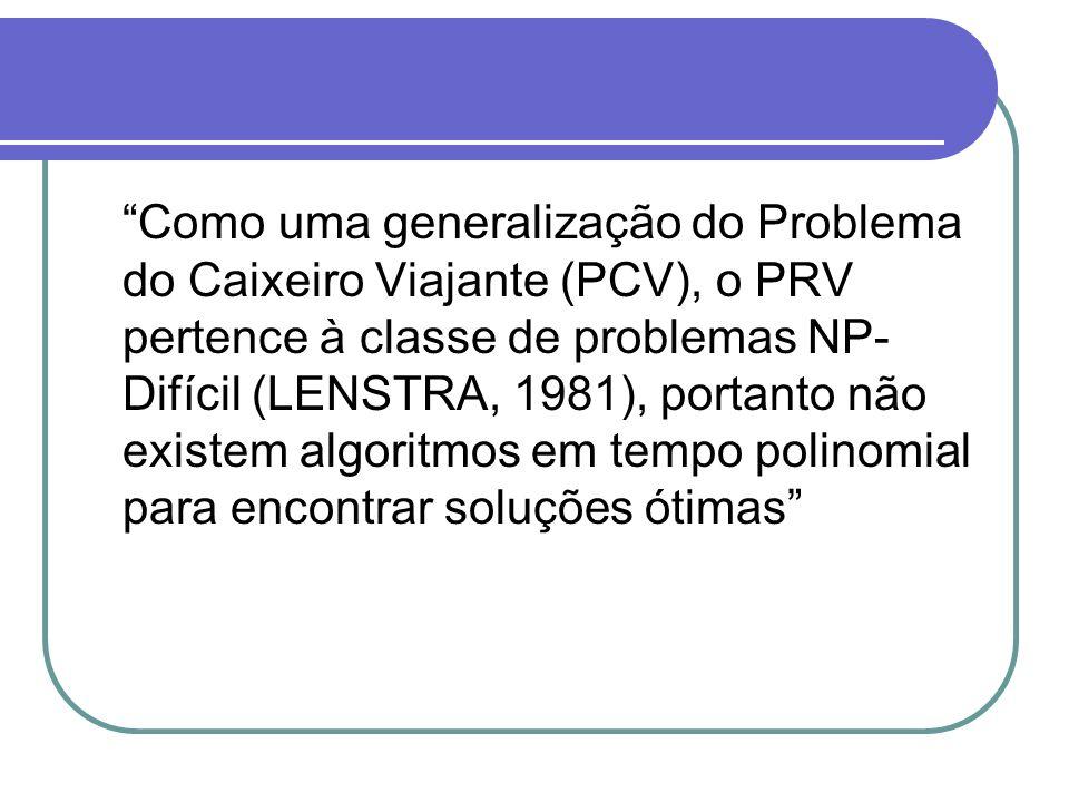 Como uma generalização do Problema do Caixeiro Viajante (PCV), o PRV pertence à classe de problemas NP- Difícil (LENSTRA, 1981), portanto não existem algoritmos em tempo polinomial para encontrar soluções ótimas