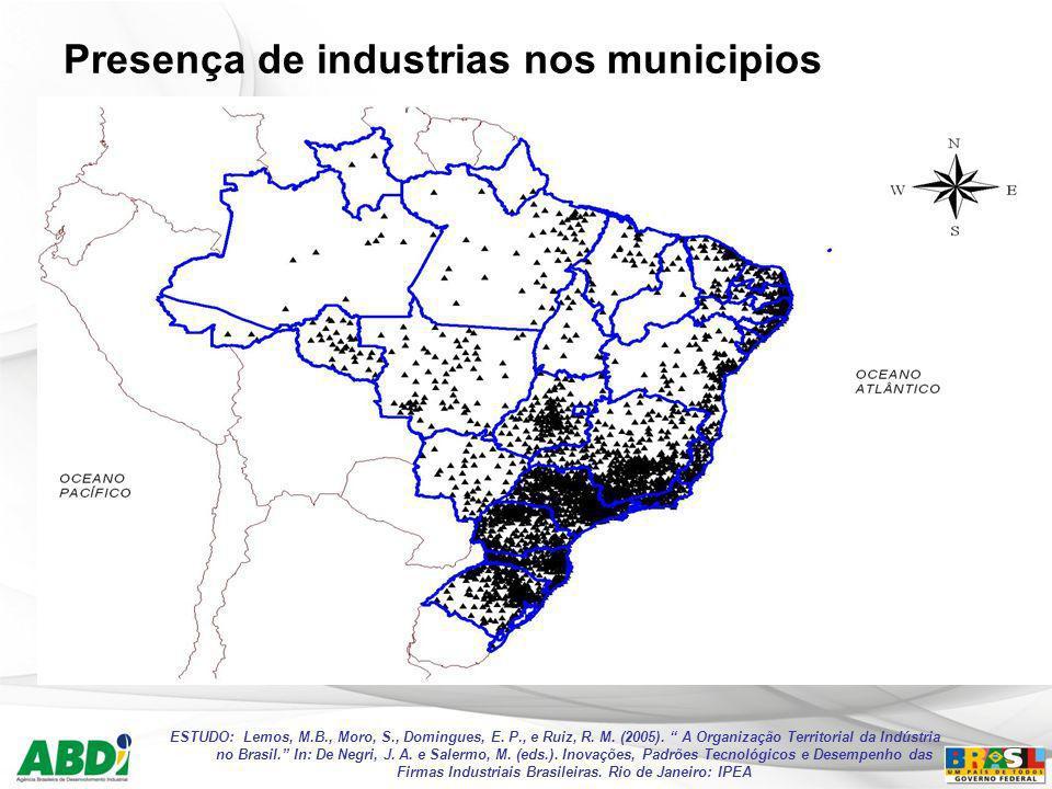 Presença de industrias nos municipios ESTUDO: Lemos, M.B., Moro, S., Domingues, E. P., e Ruiz, R. M. (2005). A Organização Territorial da Indústria no