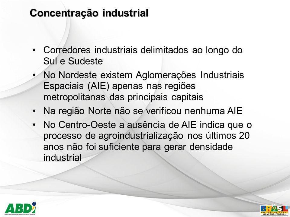 15 Corredores industriais delimitados ao longo do Sul e Sudeste No Nordeste existem Aglomerações Industriais Espaciais (AIE) apenas nas regiões metrop