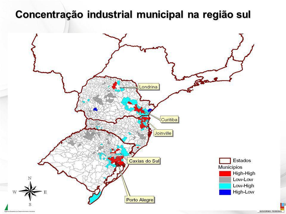 16 Concentração industrial municipal na região sul