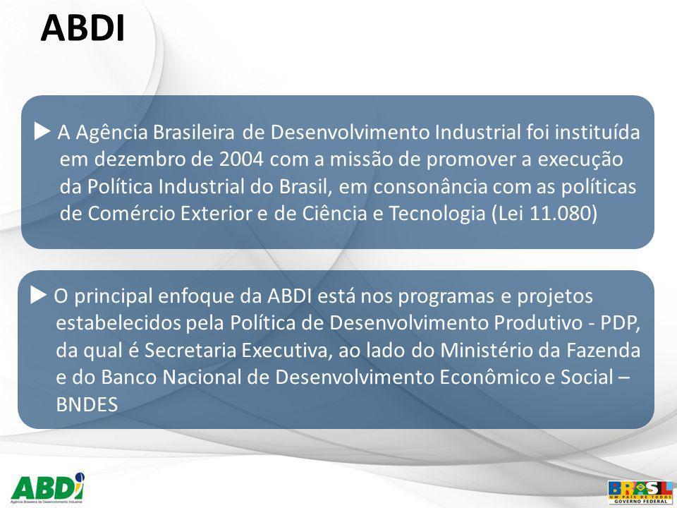 ABDI A Agência Brasileira de Desenvolvimento Industrial foi instituída em dezembro de 2004 com a missão de promover a execução da Política Industrial