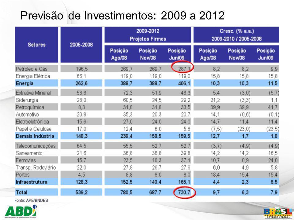 Previsão de Investimentos: 2009 a 2012 29