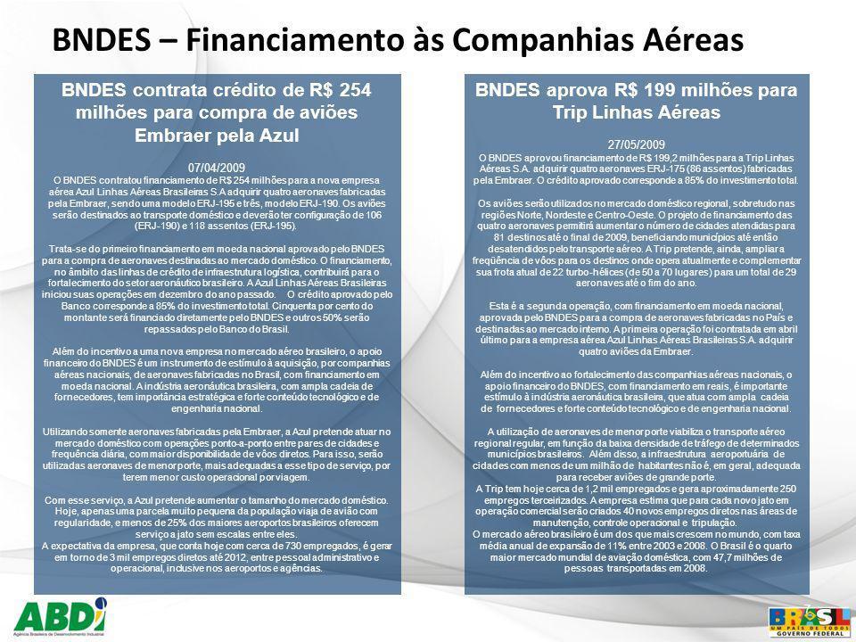 7 BNDES – Financiamento às Companhias Aéreas BNDES aprova R$ 199 milhões para Trip Linhas Aéreas 27/05/2009 O BNDES aprovou financiamento de R$ 199,2