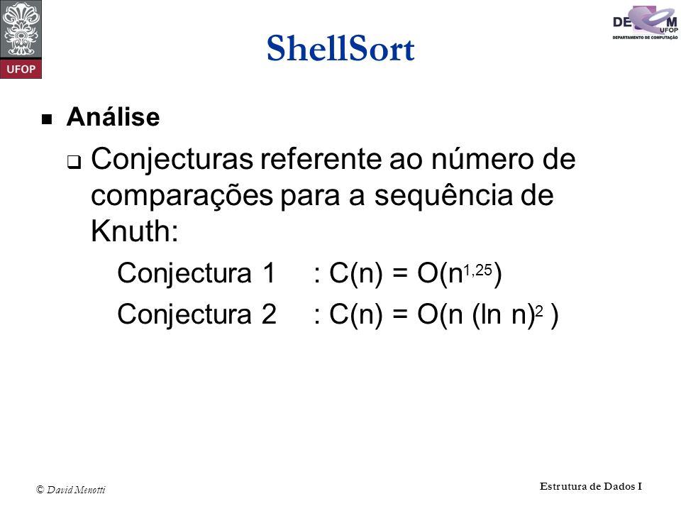 © David Menotti Estrutura de Dados I ShellSort Análise Conjecturas referente ao número de comparações para a sequência de Knuth: Conjectura 1: C(n) =