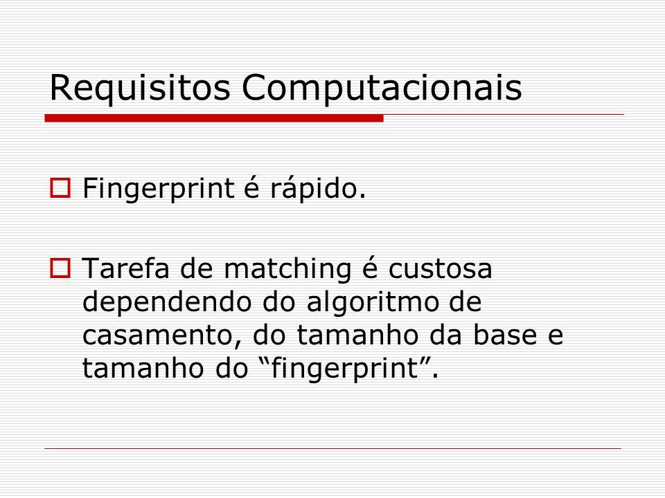 Requisitos Computacionais Fingerprint é rápido.