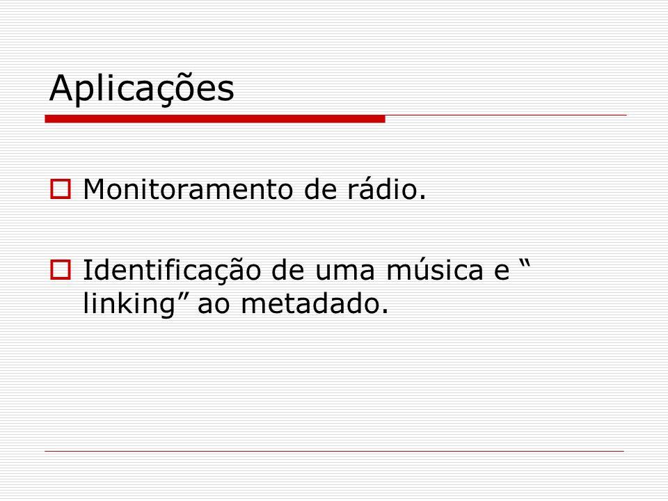 Aplicações Monitoramento de rádio. Identificação de uma música e linking ao metadado.