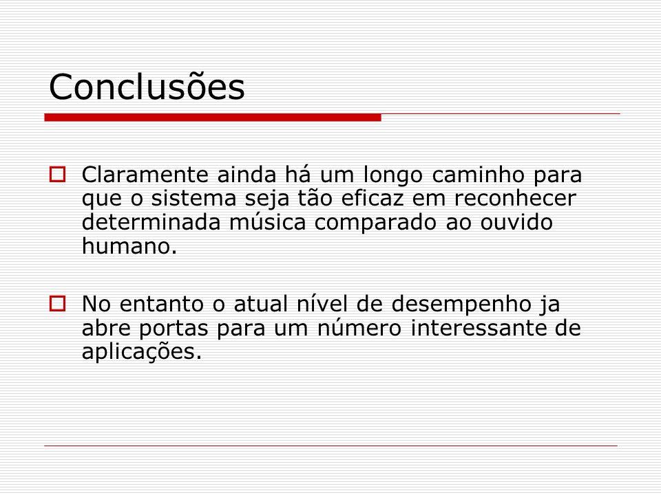 Conclusões Claramente ainda há um longo caminho para que o sistema seja tão eficaz em reconhecer determinada música comparado ao ouvido humano.