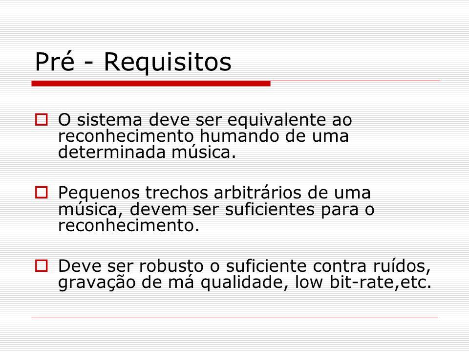Pré - Requisitos O sistema deve ser equivalente ao reconhecimento humando de uma determinada música.