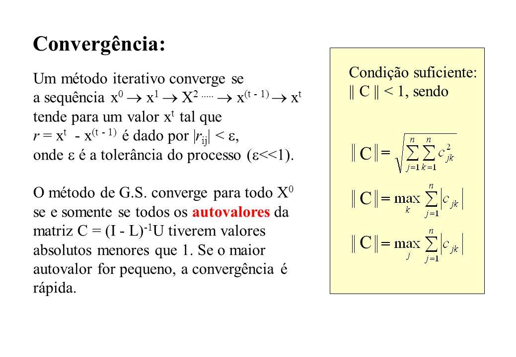 Convergência: Um método iterativo converge se a sequência x 0 x 1 X 2..... x (t - 1) x t tende para um valor x t tal que r = x t - x (t - 1) é dado po