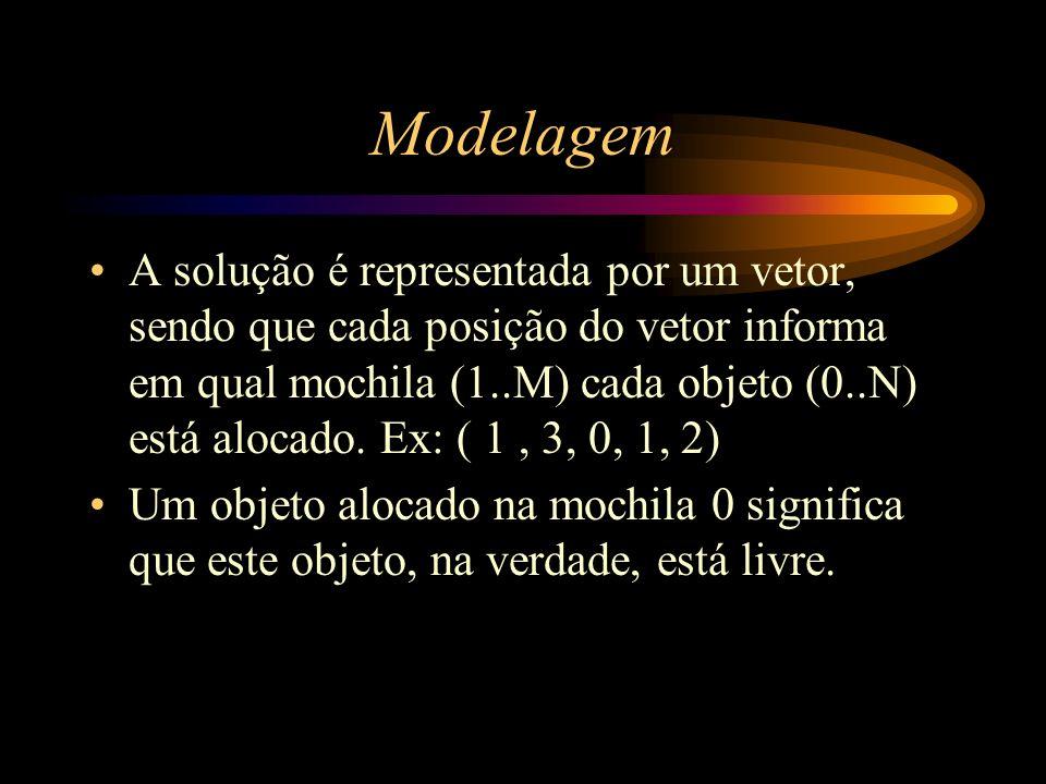 Modelagem A solução é representada por um vetor, sendo que cada posição do vetor informa em qual mochila (1..M) cada objeto (0..N) está alocado. Ex: (