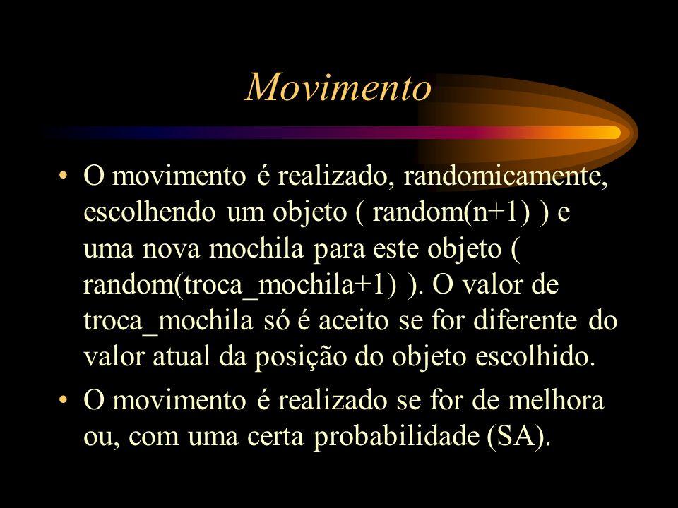 Movimento O movimento é realizado, randomicamente, escolhendo um objeto ( random(n+1) ) e uma nova mochila para este objeto ( random(troca_mochila+1)
