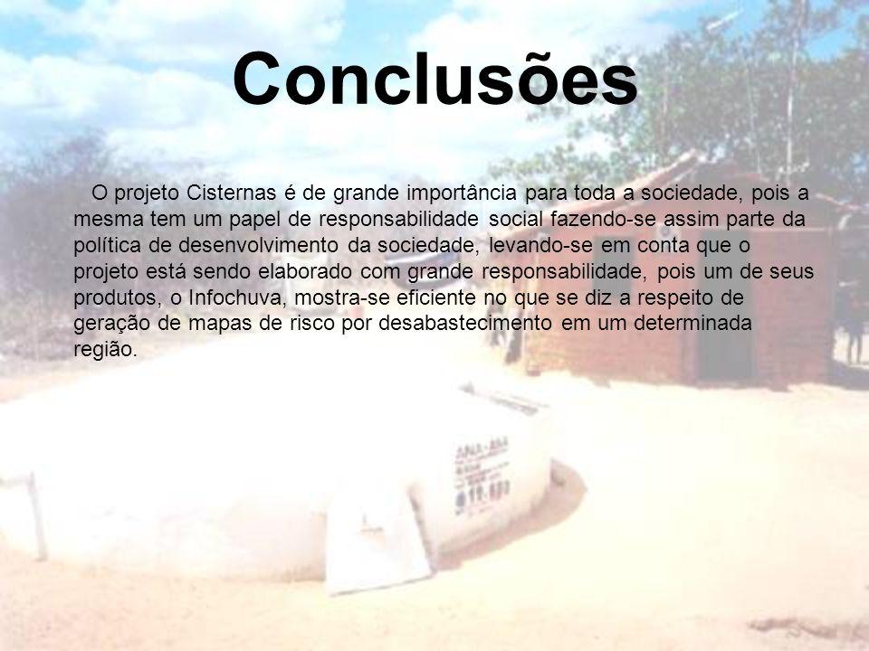 Conclusões O projeto Cisternas é de grande importância para toda a sociedade, pois a mesma tem um papel de responsabilidade social fazendo-se assim pa