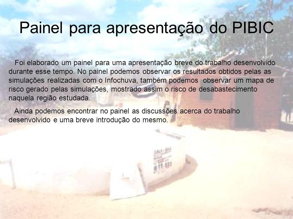 Painel para apresentação do PIBIC Foi elaborado um painel para uma apresentação breve do trabalho desenvolvido durante esse tempo. No painel podemos o