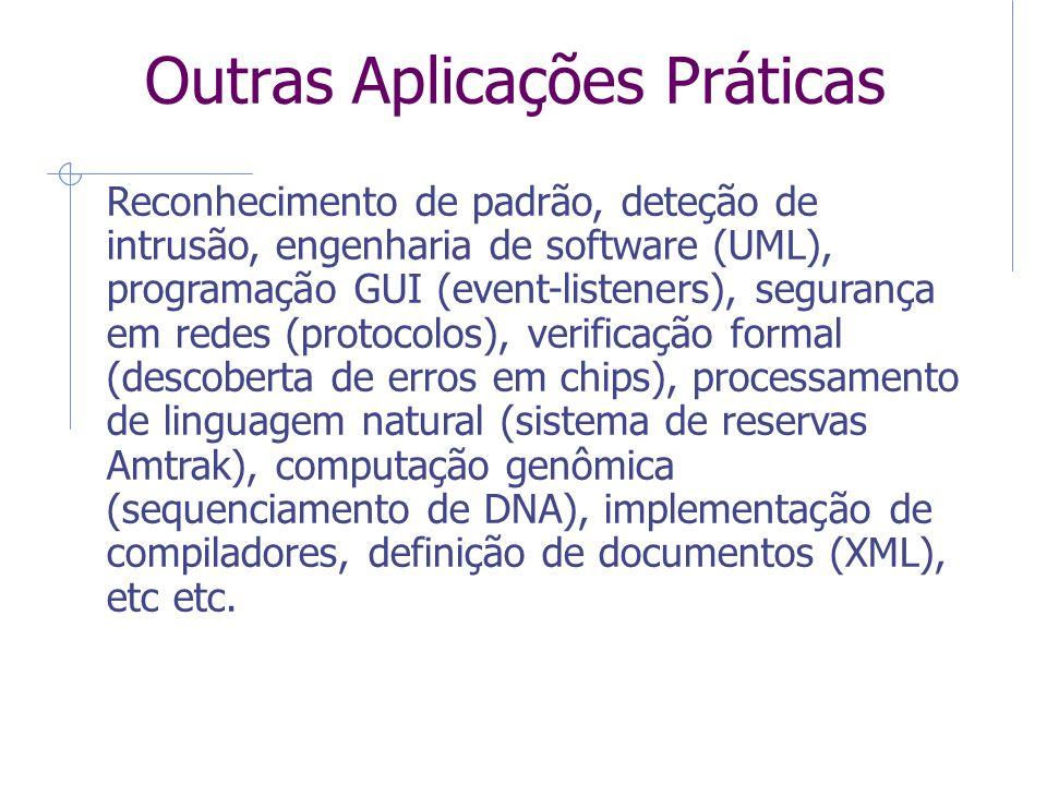 Outras Aplicações Práticas Reconhecimento de padrão, deteção de intrusão, engenharia de software (UML), programação GUI (event-listeners), segurança e
