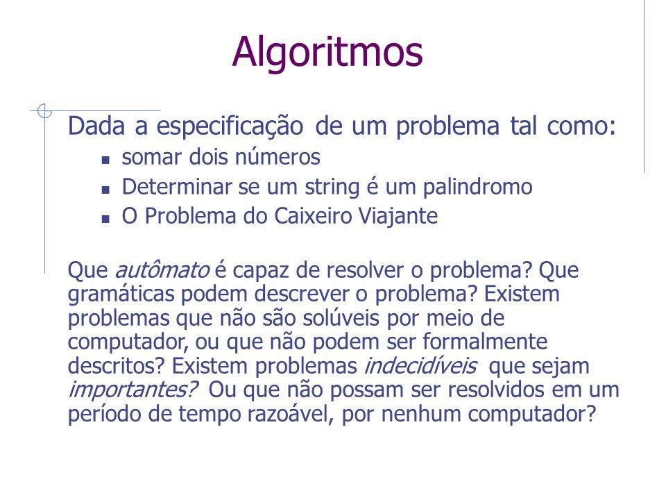 Algoritmos Dada a especificação de um problema tal como: somar dois números Determinar se um string é um palindromo O Problema do Caixeiro Viajante Qu