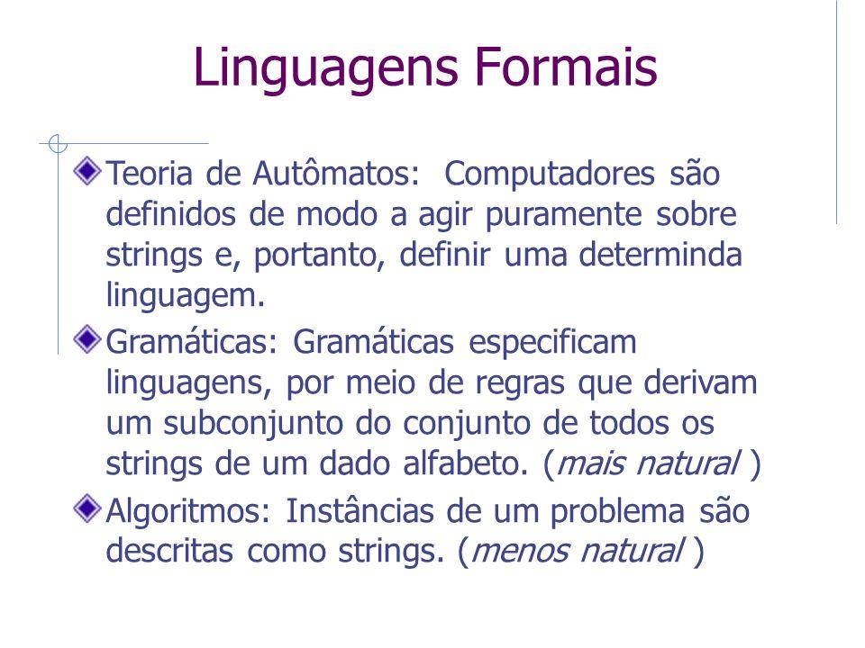Linguagens Formais Teoria de Autômatos: Computadores são definidos de modo a agir puramente sobre strings e, portanto, definir uma determinda linguage
