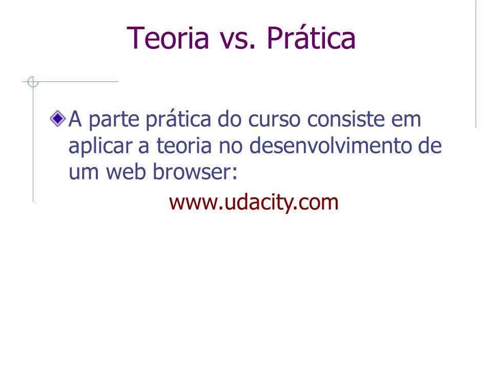 Teoria vs. Prática A parte prática do curso consiste em aplicar a teoria no desenvolvimento de um web browser: www.udacity.com