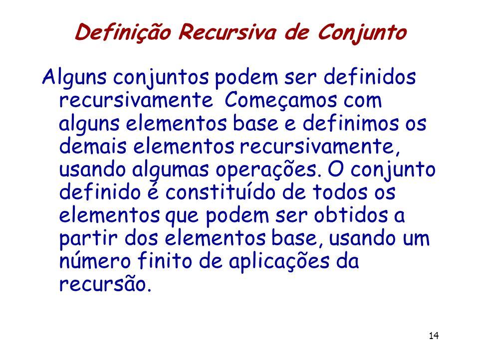 Definição Recursiva de Conjunto Alguns conjuntos podem ser definidos recursivamente Começamos com alguns elementos base e definimos os demais elemento