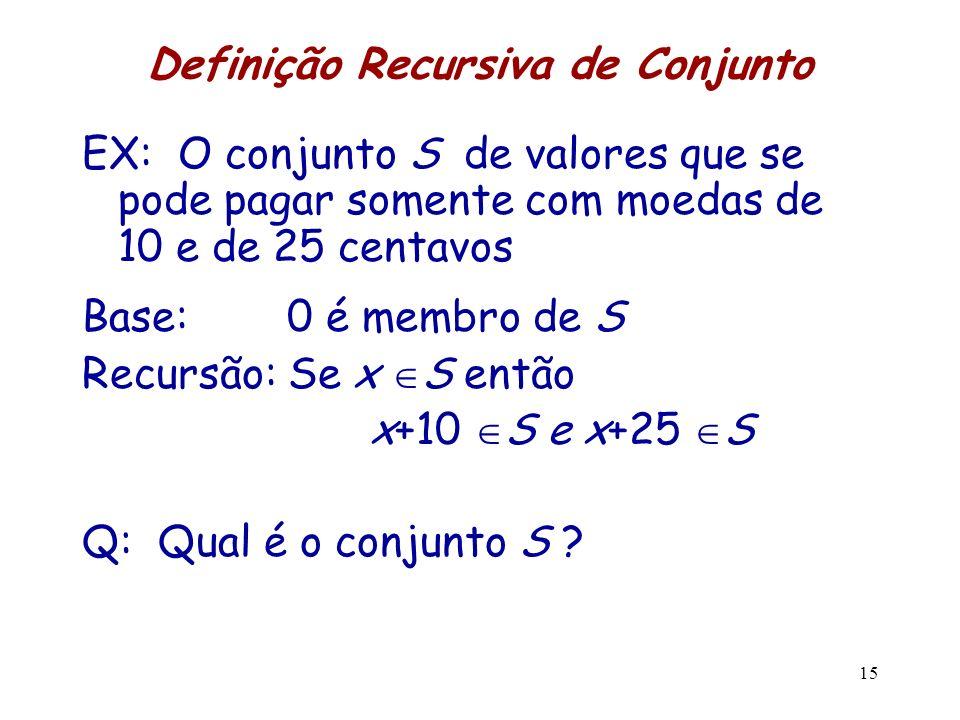 Definição Recursiva de Conjunto EX: O conjunto S de valores que se pode pagar somente com moedas de 10 e de 25 centavos Base: 0 é membro de S Recursão