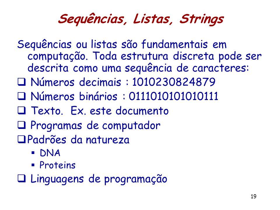 Sequências, Listas, Strings Sequências ou listas são fundamentais em computação. Toda estrutura discreta pode ser descrita como uma sequência de carac