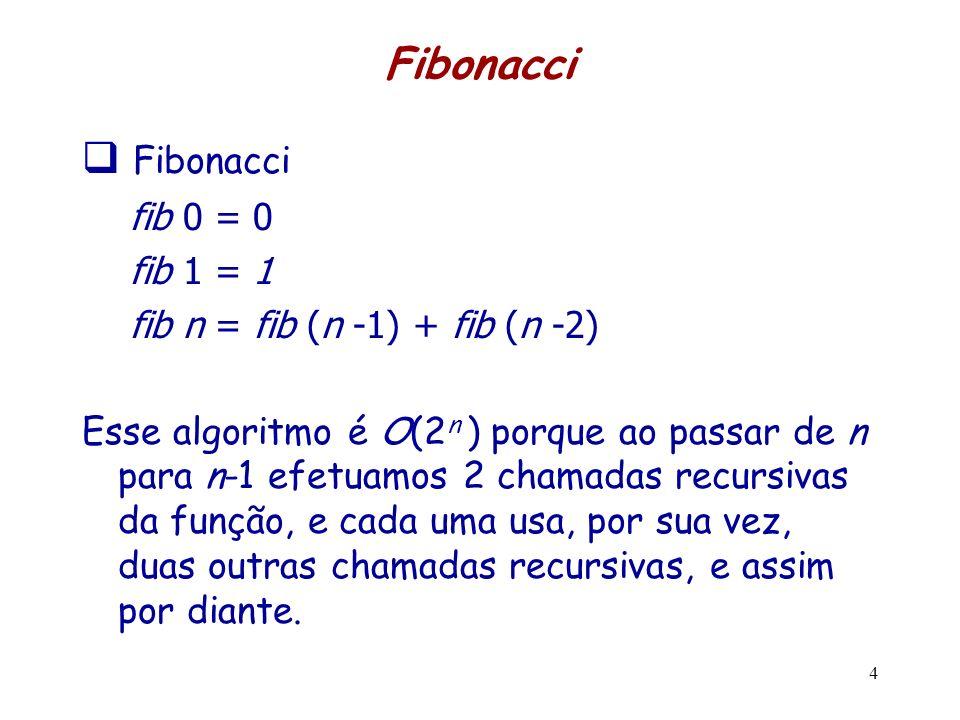 Fibonacci fib 0 = 0 fib 1 = 1 fib n = fib (n -1) + fib (n -2) Esse algoritmo é O(2 n ) porque ao passar de n para n-1 efetuamos 2 chamadas recursivas