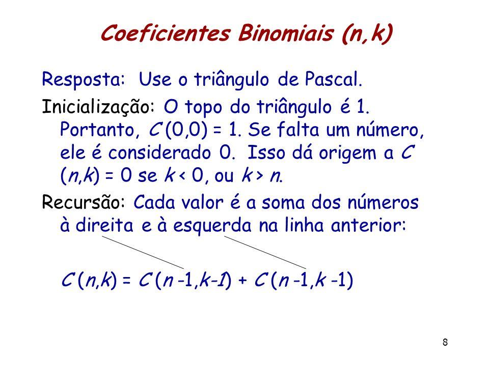 Coeficientes Binomiais (n,k) Resposta: Use o triângulo de Pascal. Inicialização: O topo do triângulo é 1. Portanto, C (0,0) = 1. Se falta um número, e