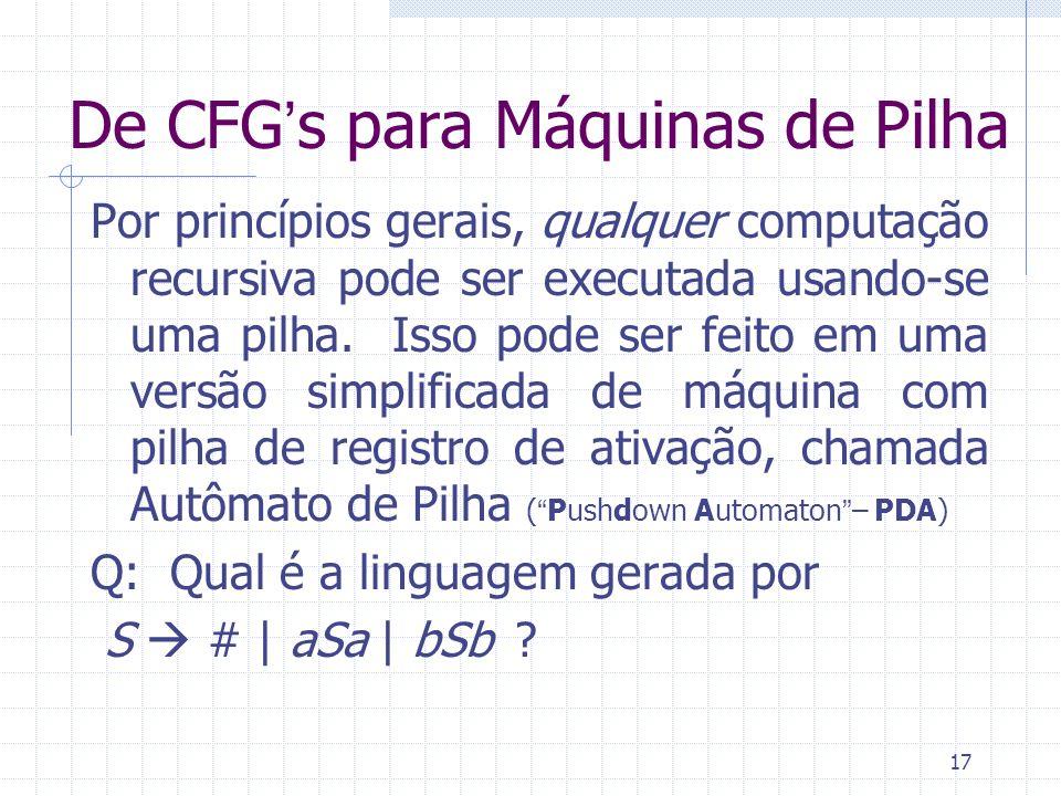 17 De CFGs para Máquinas de Pilha Por princípios gerais, qualquer computação recursiva pode ser executada usando-se uma pilha. Isso pode ser feito em