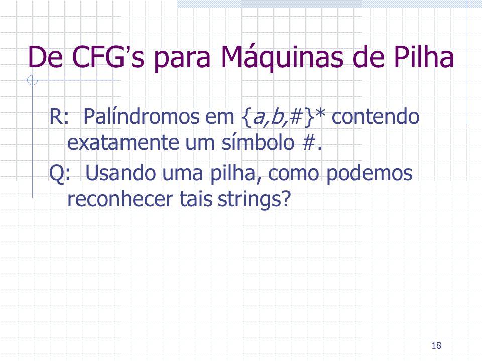 18 De CFGs para Máquinas de Pilha R: Palíndromos em {a,b,#}* contendo exatamente um símbolo #. Q: Usando uma pilha, como podemos reconhecer tais strin