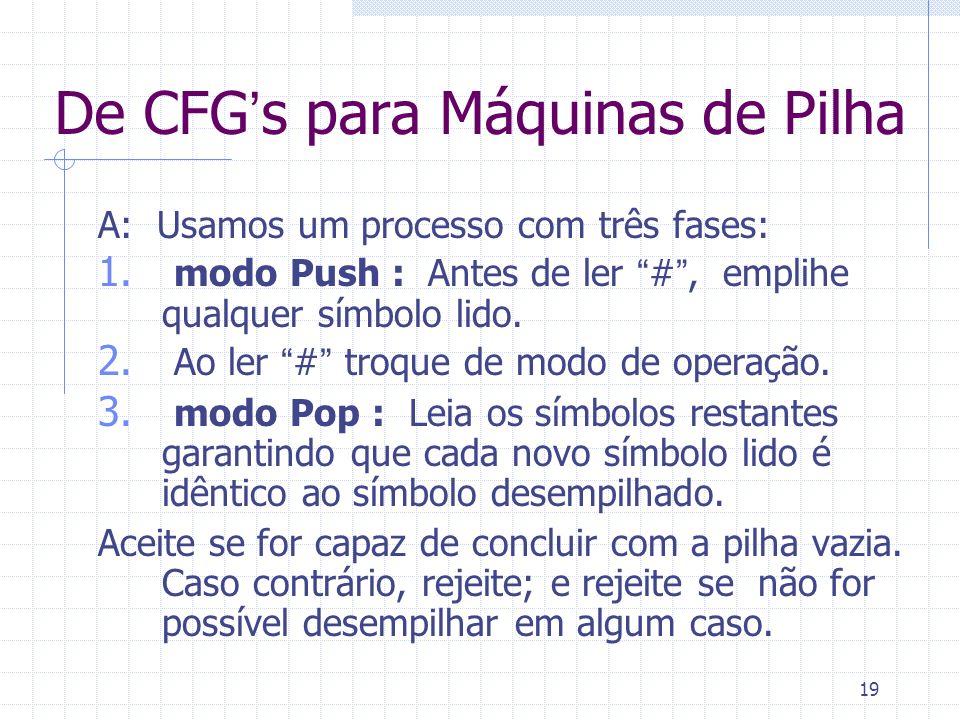 19 De CFGs para Máquinas de Pilha A: Usamos um processo com três fases: 1. modo Push : Antes de ler #, emplihe qualquer símbolo lido. 2. Ao ler # troq