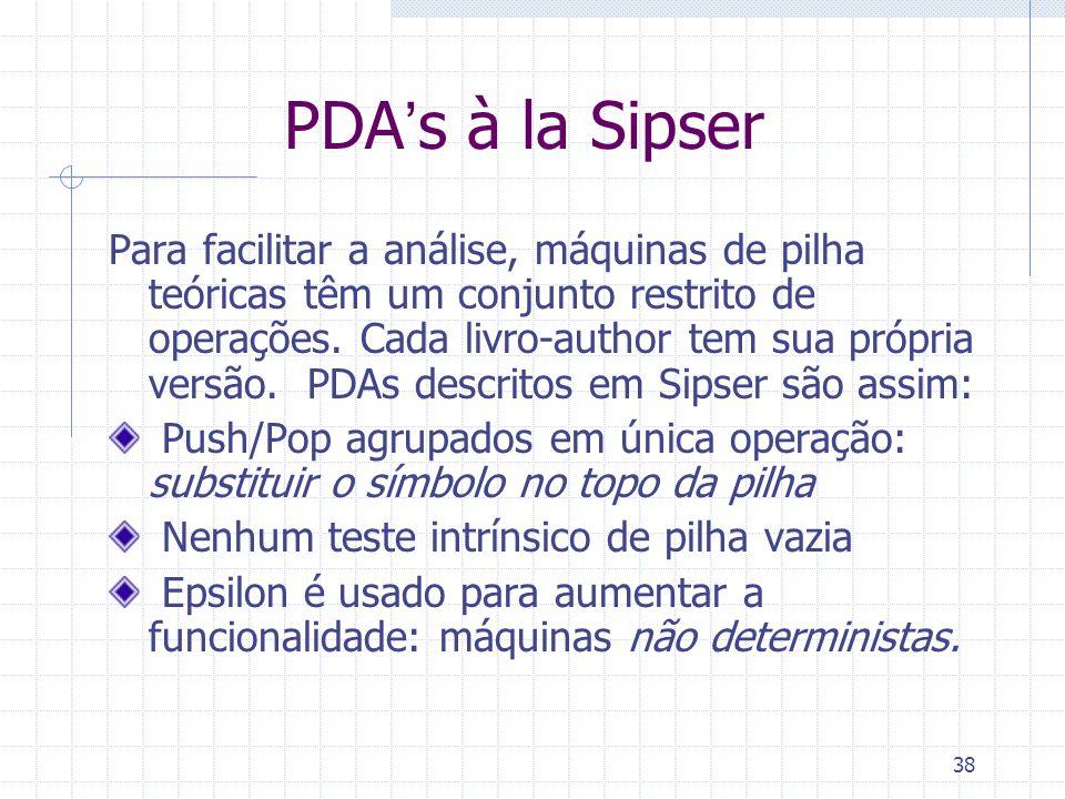 38 PDAs à la Sipser Para facilitar a análise, máquinas de pilha teóricas têm um conjunto restrito de operações. Cada livro-author tem sua própria vers