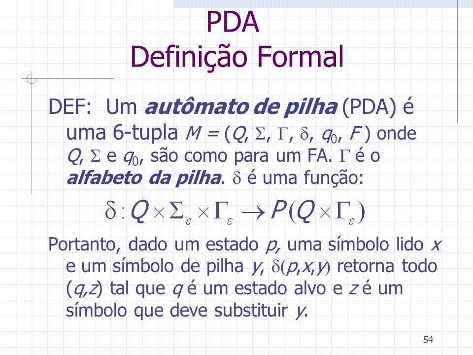 54 PDA Definição Formal DEF: Um autômato de pilha (PDA) é uma 6-tupla M = (Q,,,, q 0, F ) onde Q, e q 0, são como para um FA. é o alfabeto da pilha. é