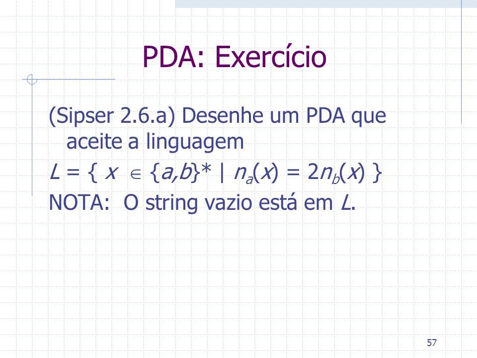 57 PDA: Exercício (Sipser 2.6.a) Desenhe um PDA que aceite a linguagem L = { x {a,b}* | n a (x) = 2n b (x) } NOTA: O string vazio está em L.
