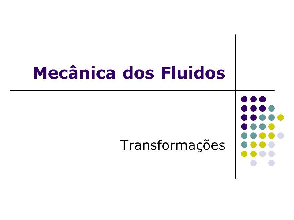 Transformações Politrópicas nos Fluidos Compressíveis A relação entre a pressão aplicada a certa massa fluida e seu volume pode ser expressa genericamente através da expressão: Onde n é comumente chamado de expoente politrópico