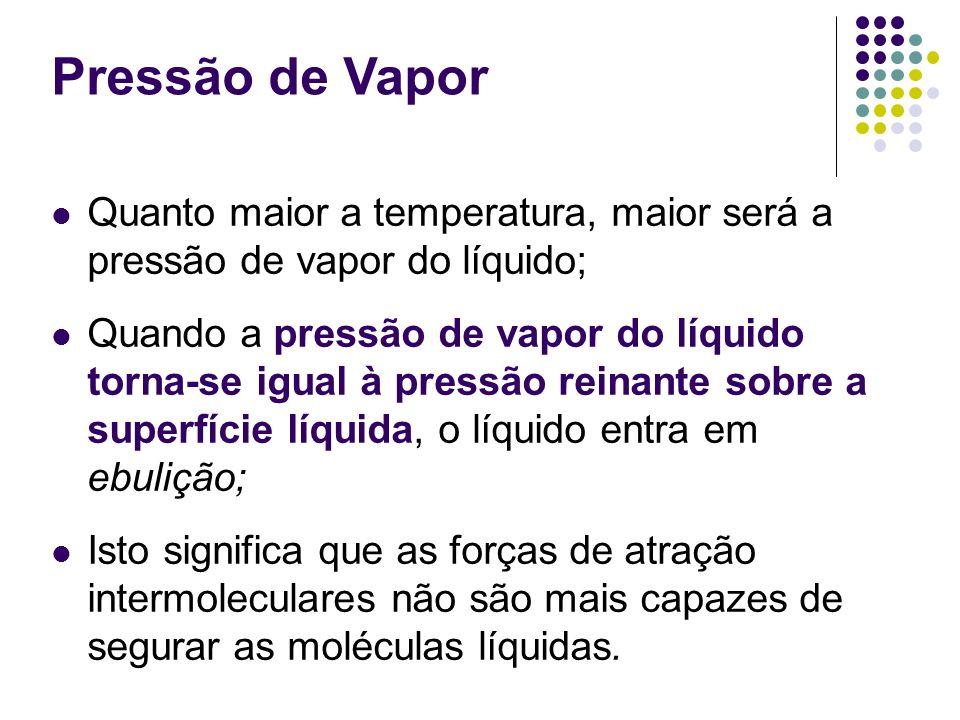 Pressão de Vapor Quanto maior a temperatura, maior será a pressão de vapor do líquido; Quando a pressão de vapor do líquido torna-se igual à pressão r