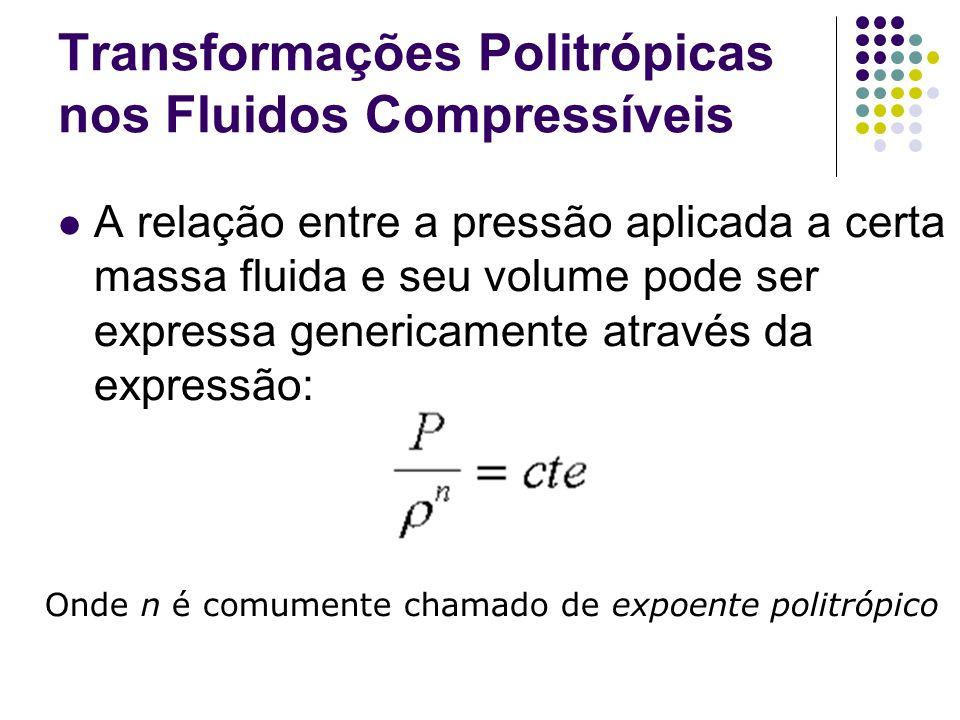 Transformações Politrópicas nos Fluidos Compressíveis A relação entre a pressão aplicada a certa massa fluida e seu volume pode ser expressa genericam