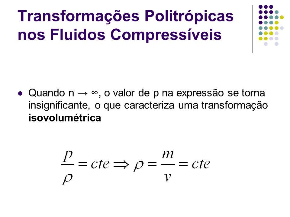 Transformações Politrópicas nos Fluidos Compressíveis Quando n, o valor de p na expressão se torna insignificante, o que caracteriza uma transformação