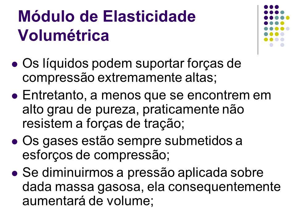 Módulo de Elasticidade Volumétrica Os líquidos podem suportar forças de compressão extremamente altas; Entretanto, a menos que se encontrem em alto gr