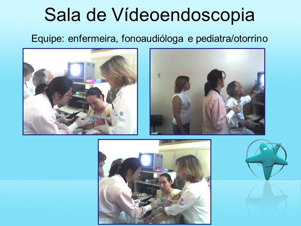 Sala de Vídeoendoscopia Equipe: enfermeira, fonoaudióloga e pediatra/otorrino