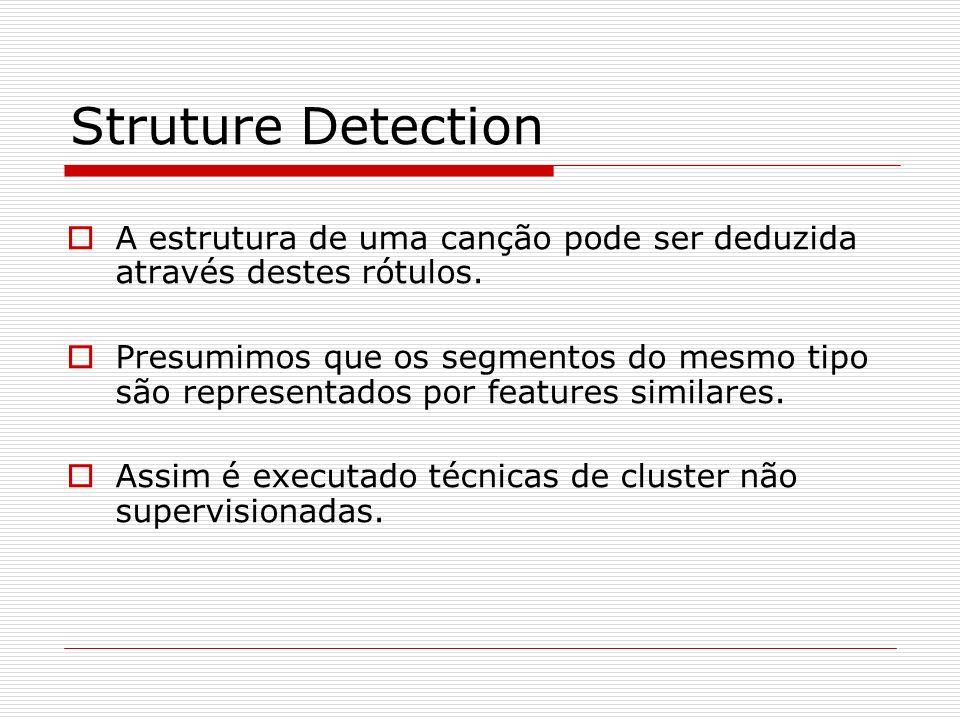 Struture Detection A estrutura de uma canção pode ser deduzida através destes rótulos. Presumimos que os segmentos do mesmo tipo são representados por