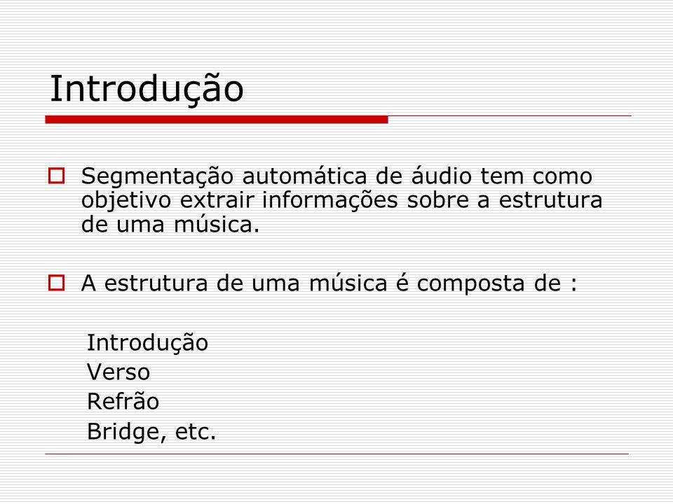 Introdução Segmentação automática de áudio tem como objetivo extrair informações sobre a estrutura de uma música. A estrutura de uma música é composta