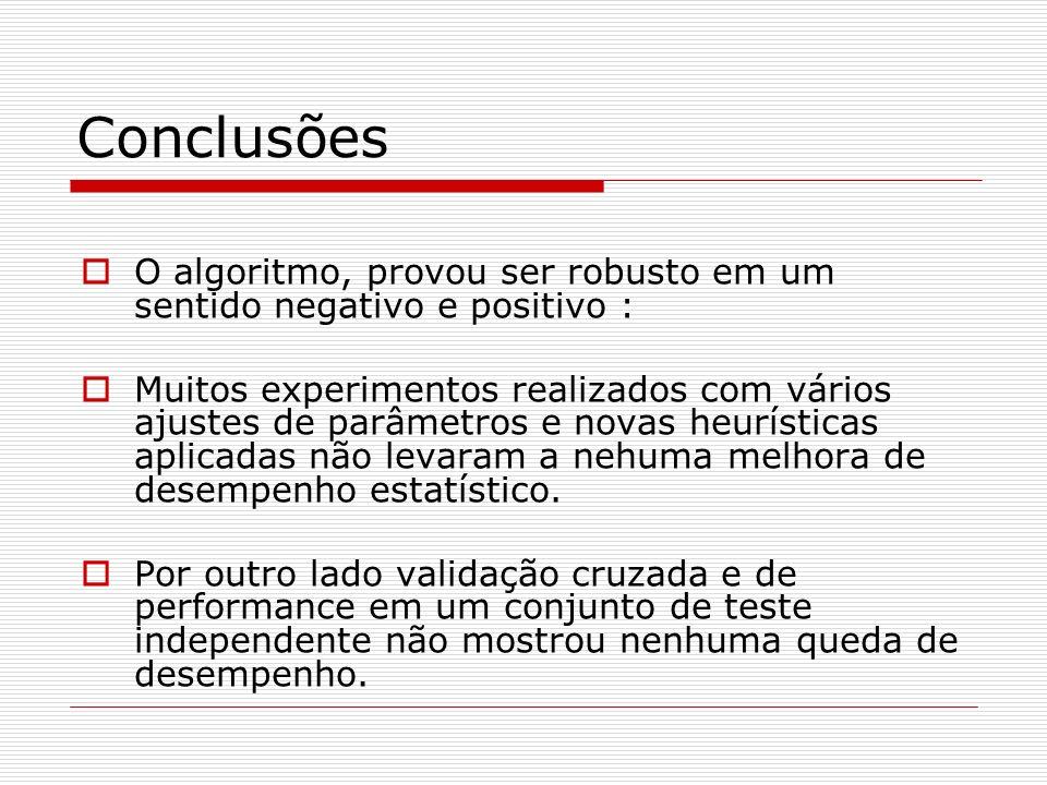 Conclusões O algoritmo, provou ser robusto em um sentido negativo e positivo : Muitos experimentos realizados com vários ajustes de parâmetros e novas