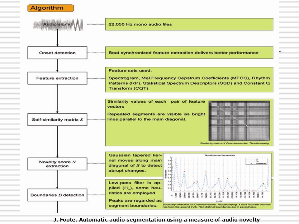 J. Foote. Automatic audio segmentation using a measure of audio novelty