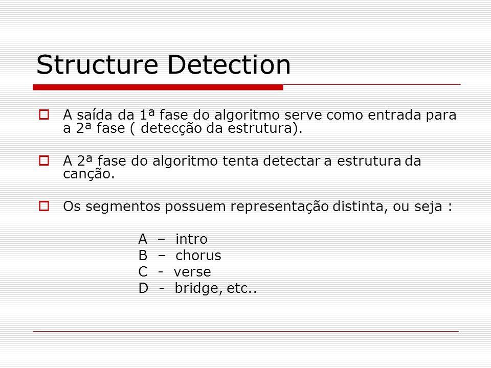 Structure Detection A saída da 1ª fase do algoritmo serve como entrada para a 2ª fase ( detecção da estrutura). A 2ª fase do algoritmo tenta detectar