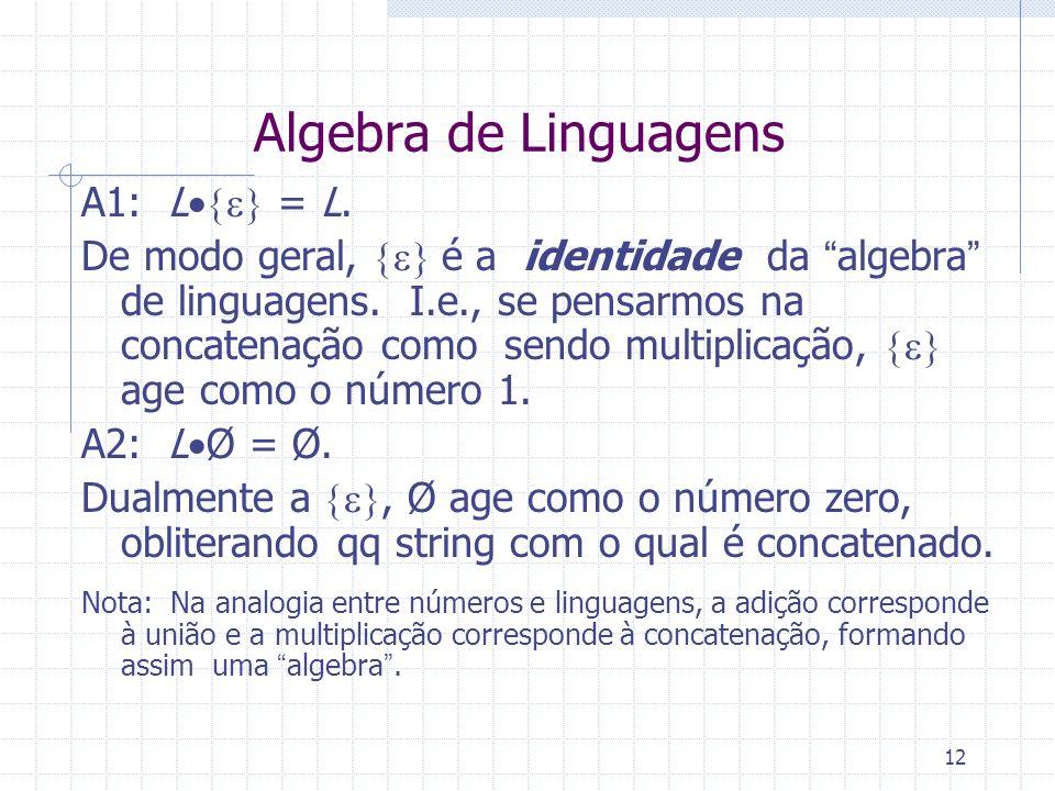 12 Algebra de Linguagens A1: L = L. De modo geral, é a identidade da algebra de linguagens. I.e., se pensarmos na concatenação como sendo multiplicaçã