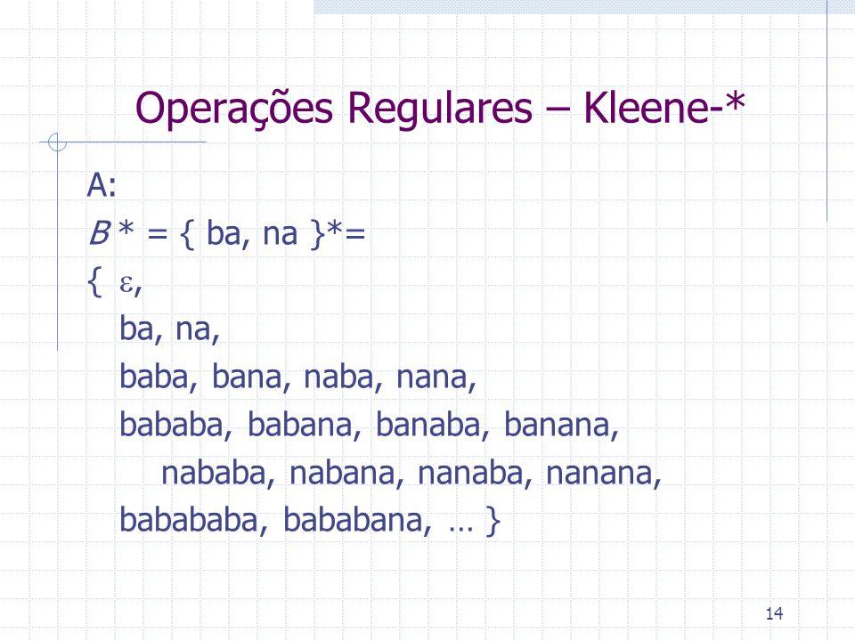 14 Operações Regulares – Kleene-* A: B * = { ba, na }*= {, ba, na, baba, bana, naba, nana, bababa, babana, banaba, banana, nababa, nabana, nanaba, nan