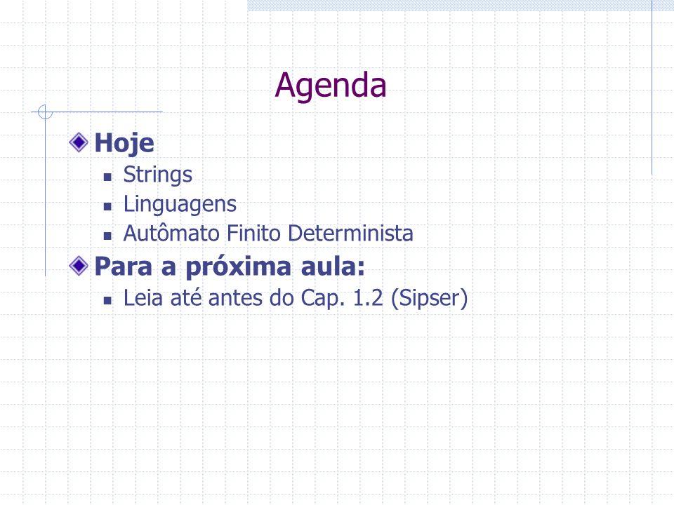 Agenda Hoje Strings Linguagens Autômato Finito Determinista Para a próxima aula: Leia até antes do Cap. 1.2 (Sipser)