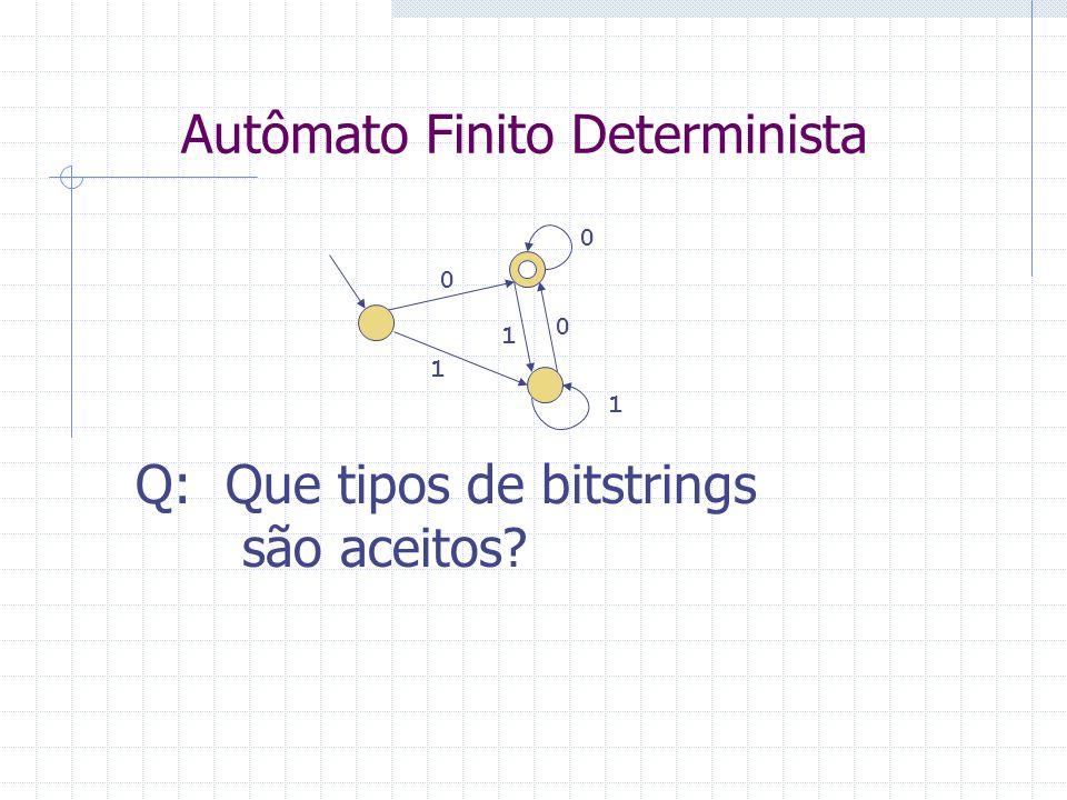 Autômato Finito Determinista 0 1 0 1 0 1 Q: Que tipos de bitstrings são aceitos?