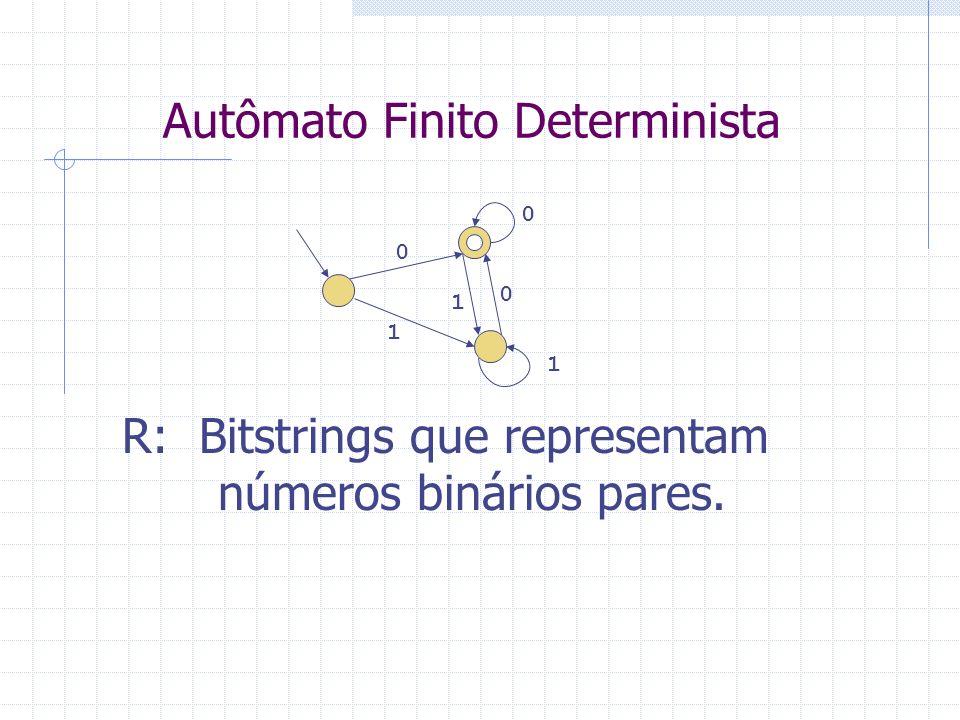 Autômato Finito Determinista 0 1 0 1 0 1 R: Bitstrings que representam números binários pares.