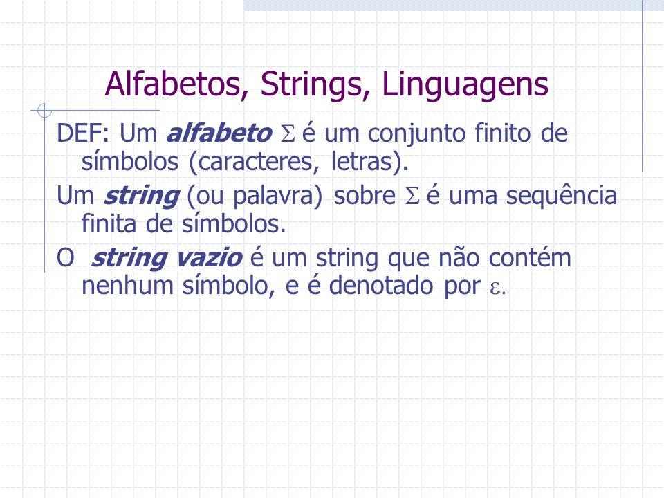 Alfabetos, Strings, Linguagens DEF: Um alfabeto é um conjunto finito de símbolos (caracteres, letras). Um string (ou palavra) sobre é uma sequência fi